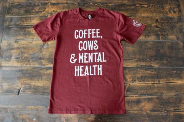 UNISEX-Coffee,Cows-MentalHealth-Tshirt-Burgundy-High-Heels-And-Canola-Fields-Saskatchewan